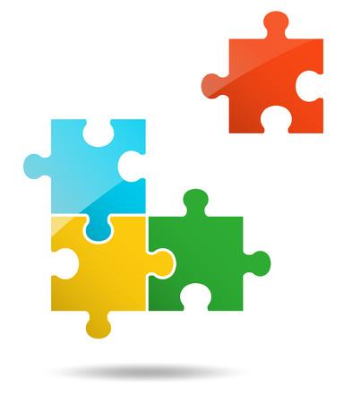 1 + 3 Teile Puzzle-Design Vektorgrafik