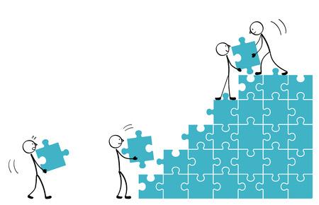 Baue die Puzzle-Treppe Vektorgrafik