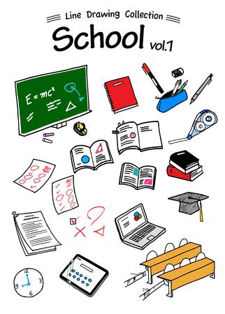 Escuela 1 commad Drawing Collection-color Ilustración de vector