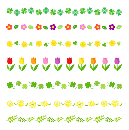 Spring decoration line set Illustration
