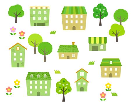 Green Townscape illustration set Vector Illustratie