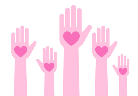 Illustration of people raising hands with heart Illustration
