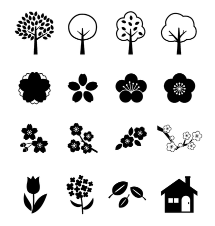 Spring plant icon set Illustration