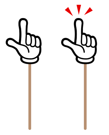 hand sign icon with stick