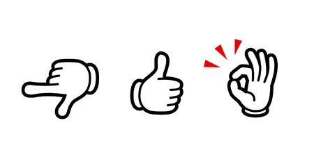 hand sign icon set (designate/good/okay)-Cartoon tast-