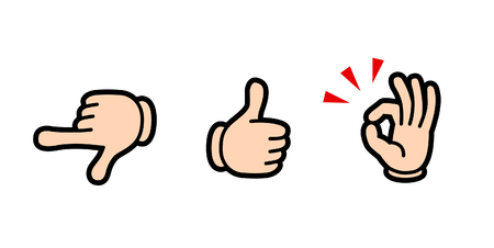 hand sign icon set (designate/good/okay)-Cartoon tast-