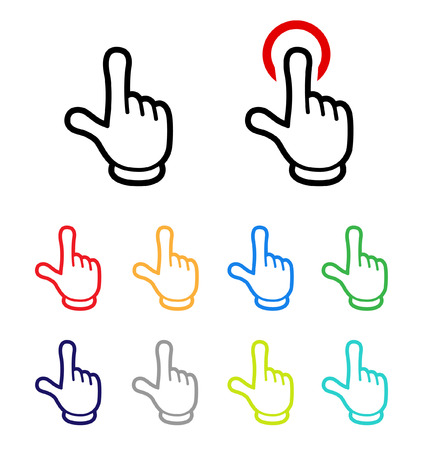 hand sign icon set-Cartoon tast- Illustration