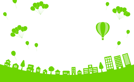 Sky with balloon and cityscape-background material-