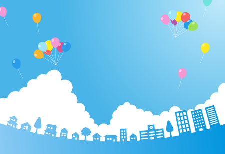 Blue sky with balloon and cityscape-background material- 일러스트