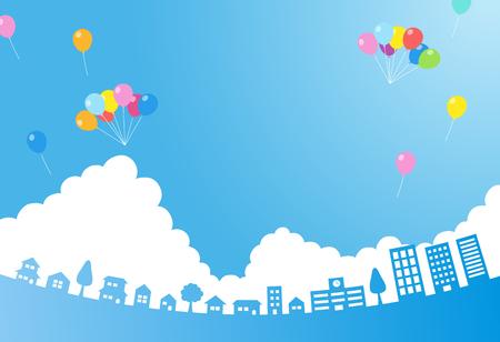 Błękitne niebo z balonem i materiałem tła miasta-