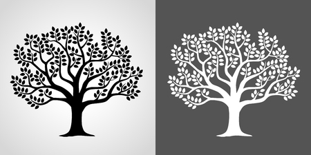 Illustration set of leafy tree-Negative / negative-