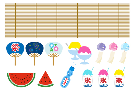 Japaneas summer icon set