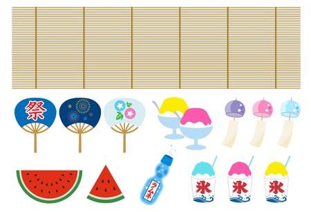 Japaneas summer icon set Vector Illustration