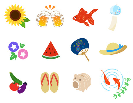 Japaneas summer icon set