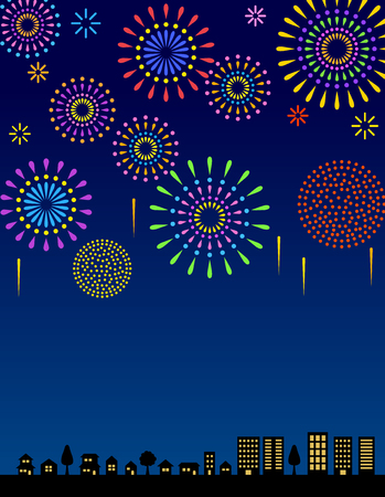Fireworks in the night sky and townscape