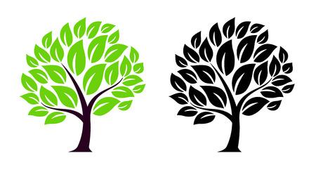 Green leaf tree illustration set Foto de archivo - 118884488