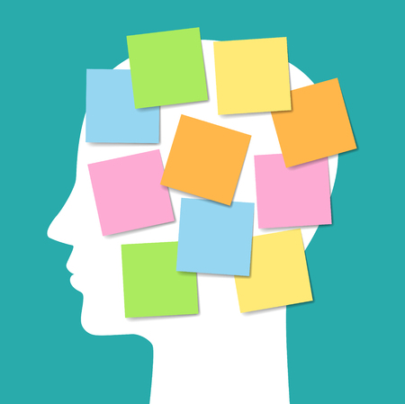 face in profile and sticky notes