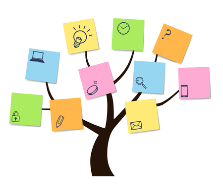 Tree and sticky note and Handwriting icon