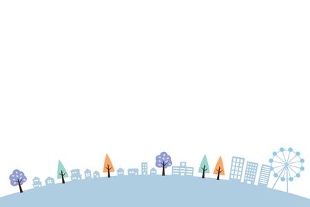 Winter-autumn cityscape (round) 矢量图像