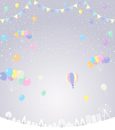 Snow and balloon cityscape (festival) 矢量图像