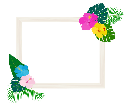 Frame with tropical plants and flowers