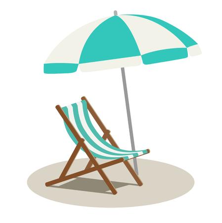 Beach parasol and beach chair