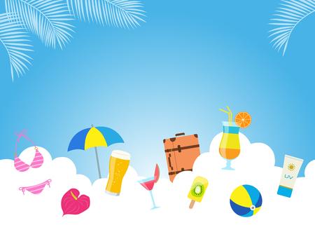 Vacation image drawn in the sky Ilustração