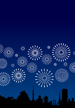 Japanese symbols and fireworks