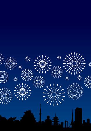 Símbolos japoneses y fuegos artificiales. Ilustración de vector