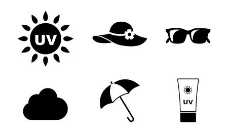 Conjunto de iconos de cuidado UV