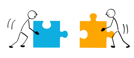 Two people puzzle and connection Stock Illustratie
