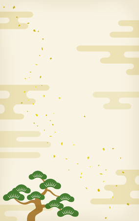 New Year card Background  material Pine and clouds Illustration