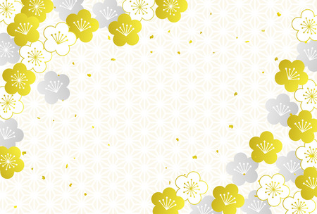 Postcard template Japanese pattern plum