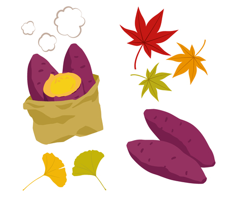Illustration set of roasted sweet potato and autumn leaves