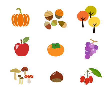 Autumn crop and food icon set