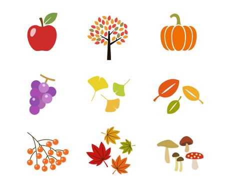 Autumn illustration icon set