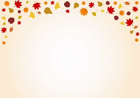 Autumn leaves and nuts background material