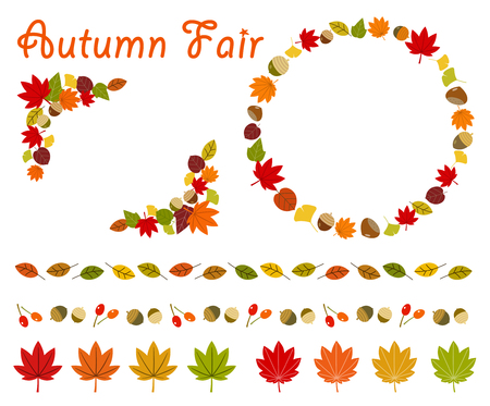 Autumn leaves and nuts frame set