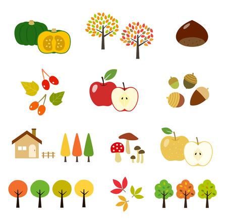 Autumn crop and tree illustration set