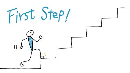 Pierwszy + Krok +% 28Idź + w górę + + schody% 29 Ilustracje wektorowe