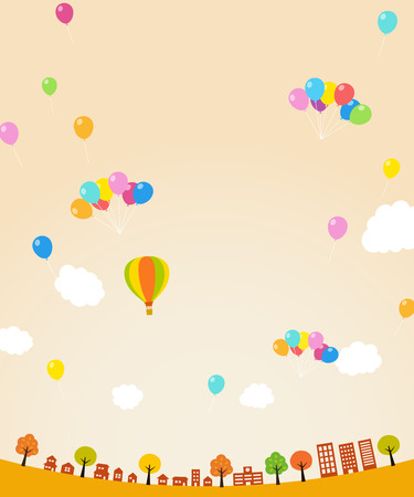 Autumn Townscape and balloons background