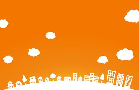 Autumn Townscape and orange background Ilustracja