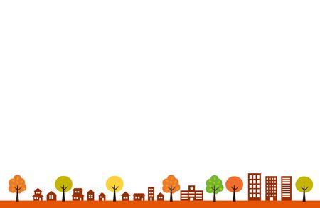 Autumn Townscape and white background Ilustracja