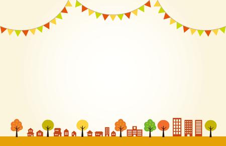 Autumn Townscape and flag decoration  background Ilustracja