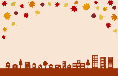 Autumn leaves and Townscape background Ilustracja