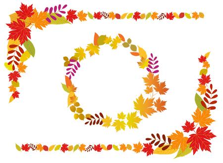 Colorful autumn leaves frame set Ilustracja