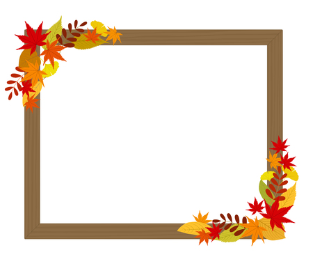 Picture frame decorating autumn leaves