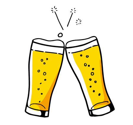 Cheers with beer icon Hand-drawn