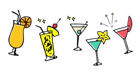 Tropical Drinks and Cocktails Hand-drawn