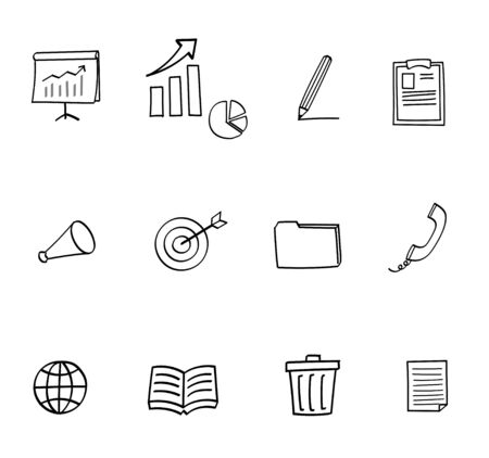 business icon set - hand drawn style Иллюстрация
